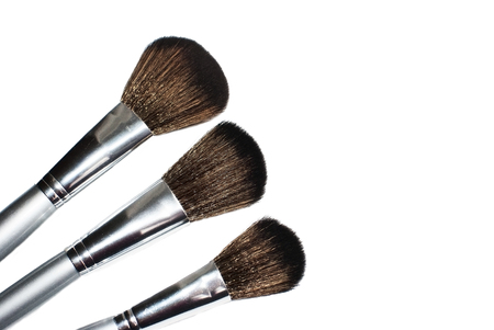 Brushes for the application of blush and powder.