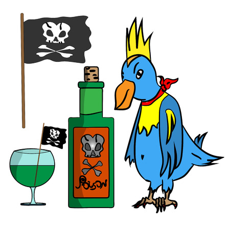sides: Set on a pirate theme cartoon, parrot, rum bottle, sides, and pirate flag