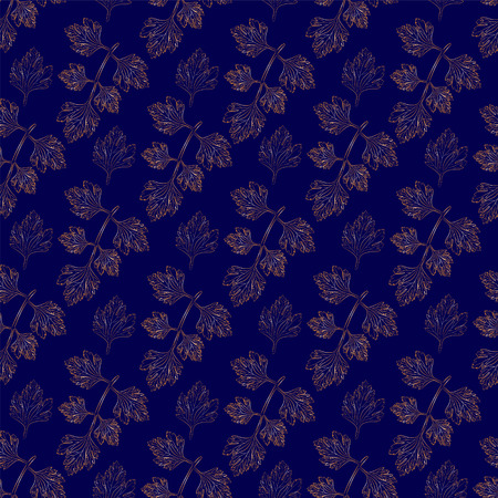 sprig: A sprig of parsley on a dark blue background seamless pattern Stock Photo