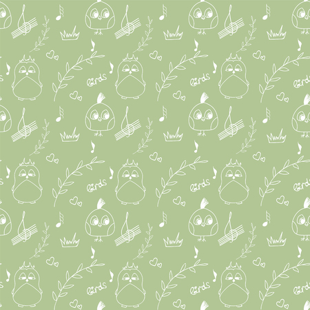 Cartoon bird branches and notes on light green background pastel pattern