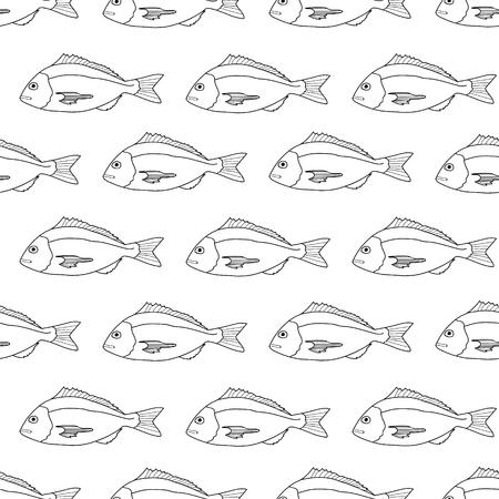 dorado: Fish Seamless Pattern. Dorado. Vector illustration for design menus, recipes and packages product. Illustration