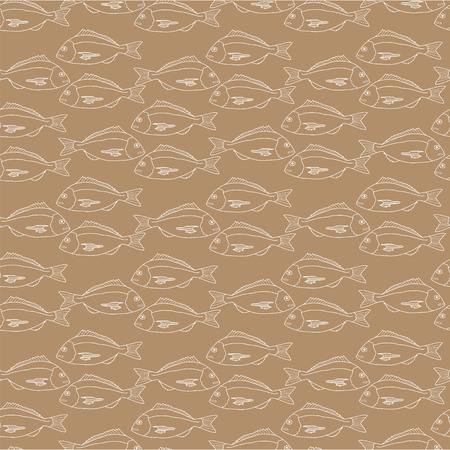kraft paper: Seamless pattern of fish on kraft paper.