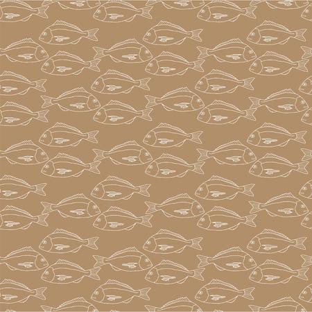 dorado: Seamless pattern of fish on kraft paper.