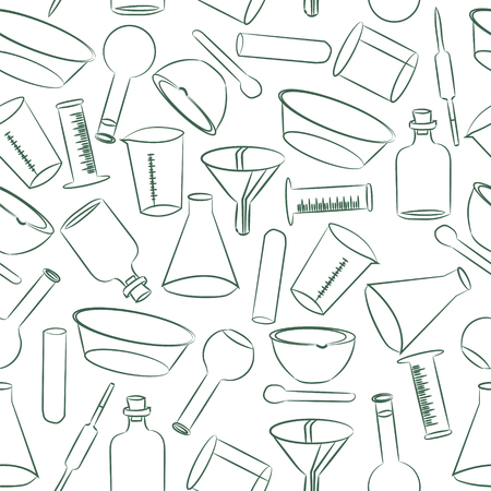 packets: Laboratory scientific instruments on a white background. Pattern for wrapping paper, textiles, books, magazines, wrappers, packets