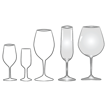 types of glasses: Illustrations of different types of glasses for various alcoholic beverages