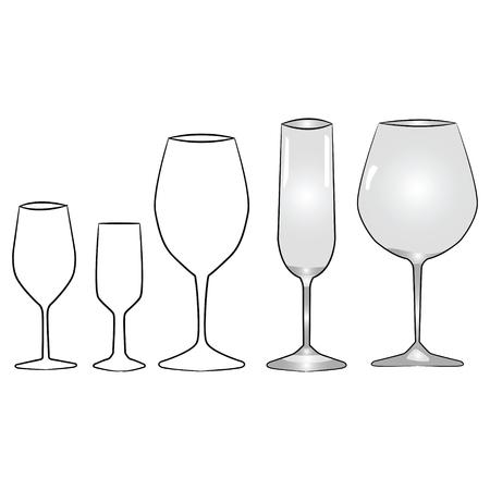 bebidas alcoh�licas: Ilustraciones de los diferentes tipos de vasos para bebidas alcoh�licas Vaus