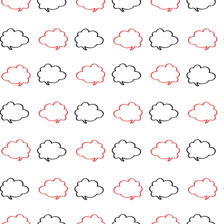 wrappers: Cloud labels in red and black on a white background pattern for the wrappers, packaging, textile, package, paper, cards