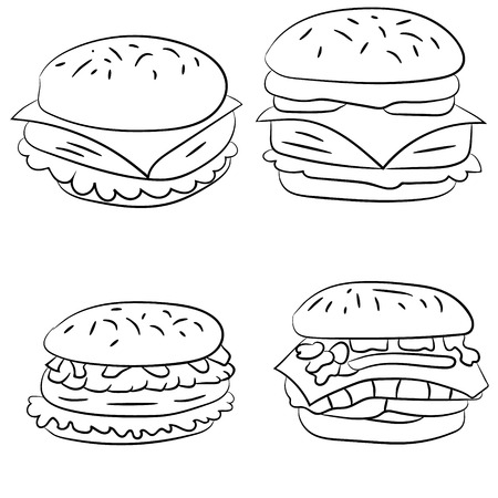 cheeseburgers: A set of illustrations of hamburgers, cheeseburgers, fast food Illustration