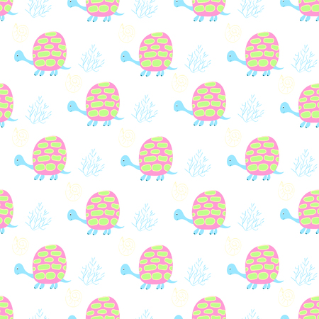 handicrafts: Gentle childrens background with turtles and algae in the fashionable pastel soft colors for the textiles and handicrafts Illustration