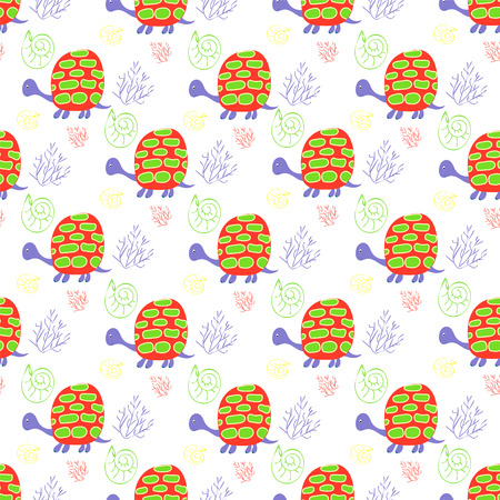 Childrens background with turtles and algae for textiles and handicrafts