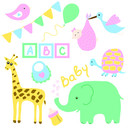 pezones: Establecidos para las tarjetas de felicitación de vacaciones de los niños para recién nacidos y niños, padres con lindo animales, globos, banderas, cartas, los pezones y la ropa.