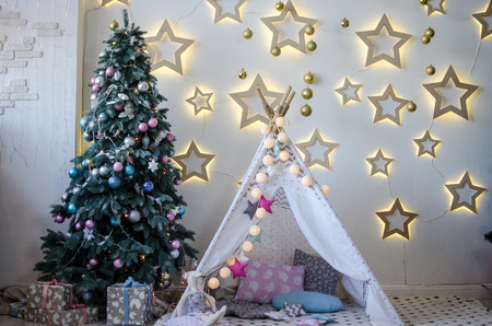 tent and stars in the interior Stock Photo