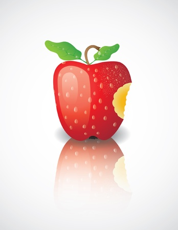 bitten: Manzana mordida sobre un fondo blanco Vectores