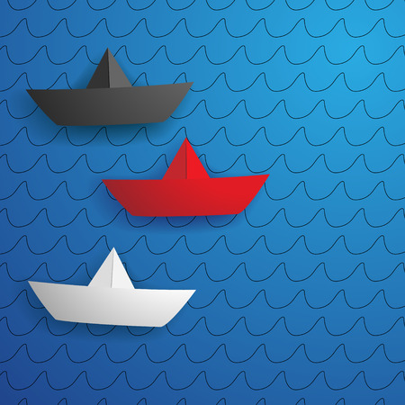 Three paper ships on a blue background Vector