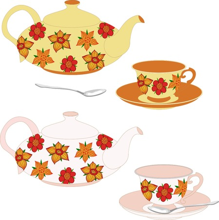 izole nesneleri: Vector set of teapots and cups decorated with flowers. Vector isolated objects. Çizim