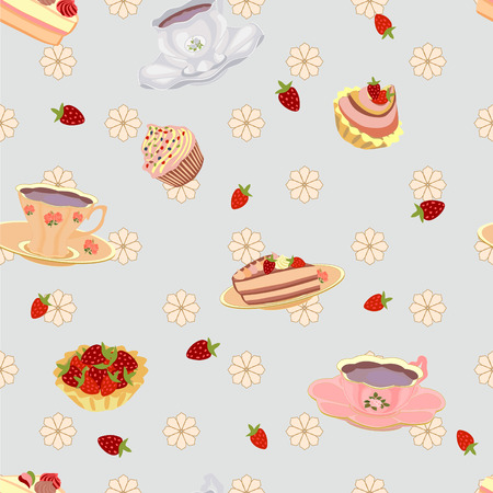 Vector repeating pattern from the cups cake cupcakes and strawberries. Vector