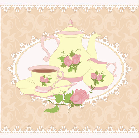 milk jug: Vector composition teapot Cup and milk jug in a lace frame. All items are isolated. Illustration