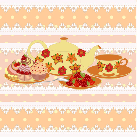 Vector composition teapot and Cup in a lace frame. All items are isolated. Illustration