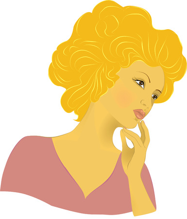 Beautiful young woman with magnificent hair. Vector image of a young beautiful woman. Vector