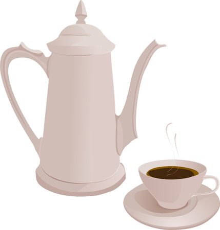 The coffee pot and Cup. Vector illustration. White coffee pot and Cup on white background. Vector