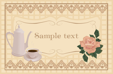 Coffee pot and Cup on a vintage vector background. Vector