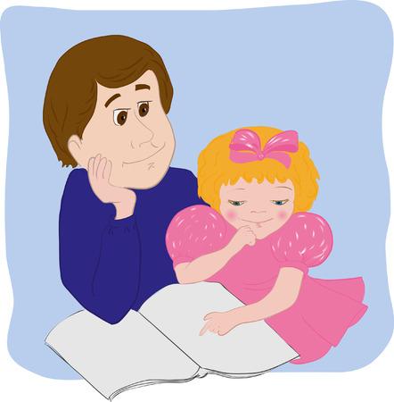 familia animada: El padre ense�a a la hija a leer