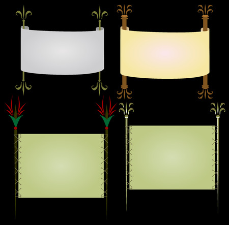old mirror: Vector set of backgrounds in the form of scrolls and papyri
