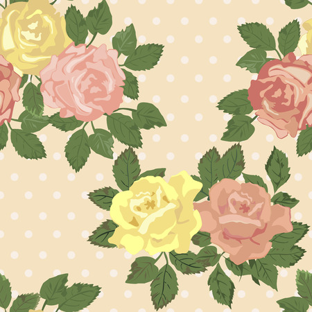 gele rozen: Vector repeating pattern with pink and yellow roses in vintage style.