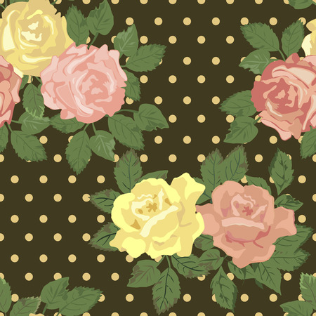 yellow roses: Vector repeating pattern with pink and yellow roses in vintage style.