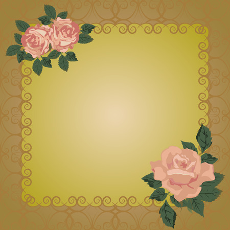 openwork: Vector frame with openwork background and roses.