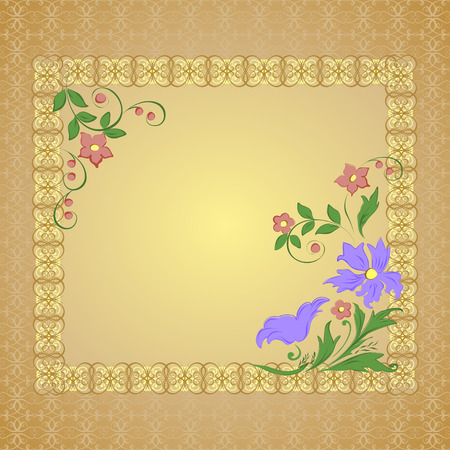 openwork: Vector frame with openwork background and flowers Illustration