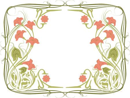 花飾りとアール ヌーボー様式のフレームのベクター イラストです。白地にピンクの花。