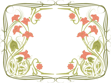 Vector illustration of a frame in the art Nouveau style with floral ornament. Pink flowers on white background.