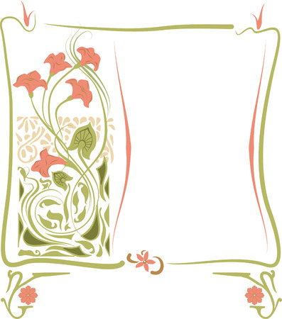 Vector illustration of a frame in the art Nouveau style with floral ornament. 矢量图像