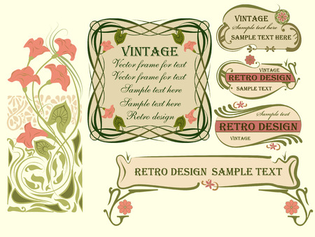 Set of vector frames and design elements in art Nouveau style.