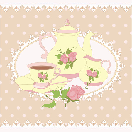 Vector composition teapot Cup and milk jug in a lace frame. All items are isolated. Illustration