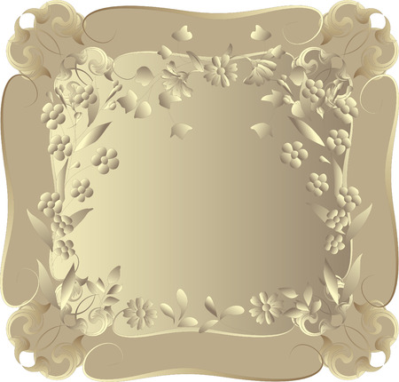 Vector frame in vintage style with flowers. Vector