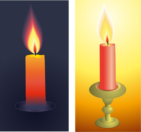 Burning candles realistic vector illustration. Vector
