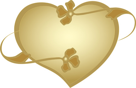 amore: Golden frame in the shape of a heart with stylized flowers.