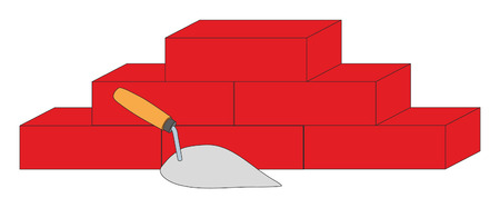 bricklaying: Construction trowel and bricks