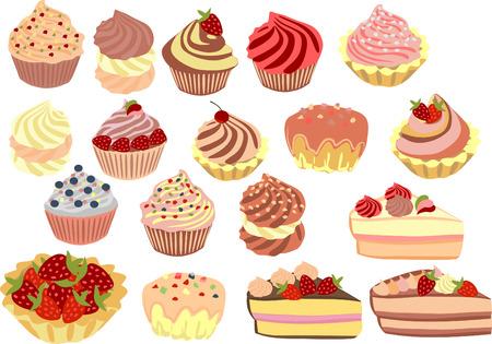 pastel: conjunto de pasteles cupcakes y pasteles.
