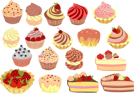 strawberry cake: set of cakes cupcakes and cakes. Illustration