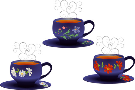 steam of a leaf: illustration of blue cups with a floral pattern.