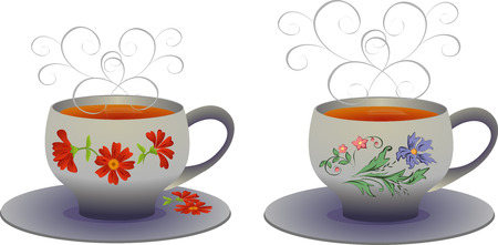 whites: Vector illustration of whites Cups with flower pattern.
