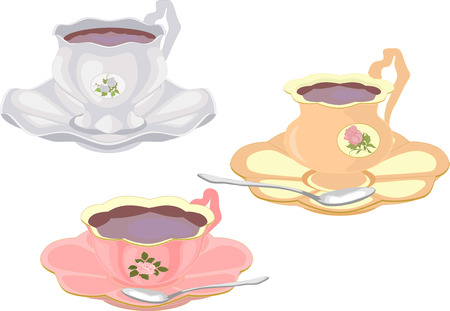 set of cups of tea in vintage style. Vector