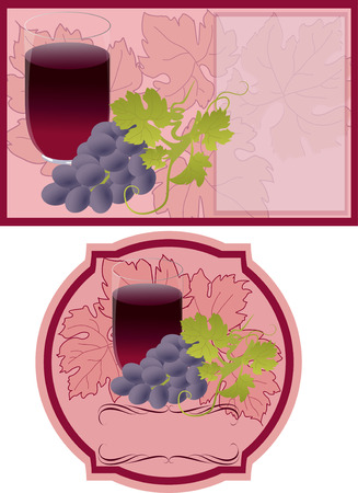 grape juice: Vector labels for grape juice. A glass of juice a bunch of grapes and leaves.
