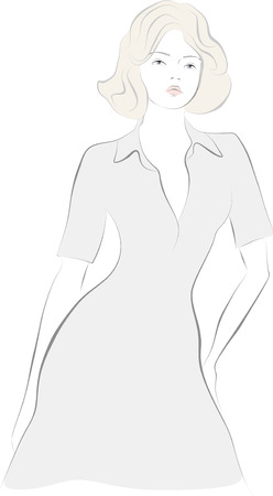 ragazza giovane bella: Bella ragazza in un abito su uno sfondo trasparente. Vettoriali