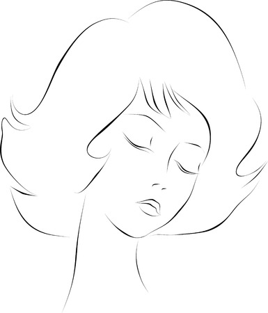 Sketch of a girl39s head on a transparent background. Vector