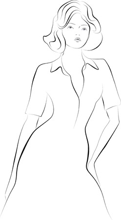 Vector sketch of a young girl in a dress. Vector