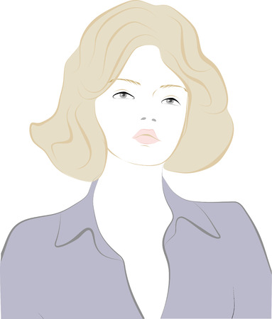 Vector illustration of girl in pastel colours. Vector